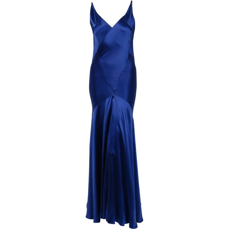 1930's Hattie Carnegie Couture Sapphire-Blue Silk Satin Backless Bias-Cut Gown For Sale