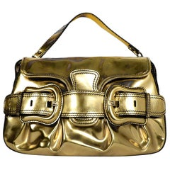 Fendi Gold Metallic Glazed Leather B. Bis Buckle Shoulder Bag