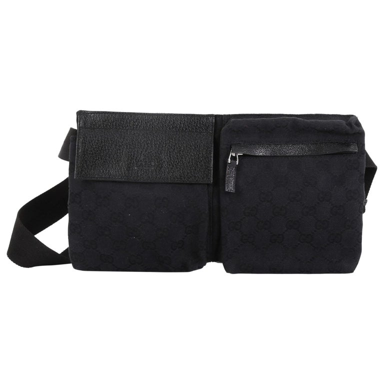 7ffa29e0db0d Gucci Vintage Double Belt Bag GG Canvas at 1stdibs