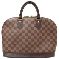 Louis Vuitton Alma Damier Ebene 866815 Brown Coated Canvas Satchel
