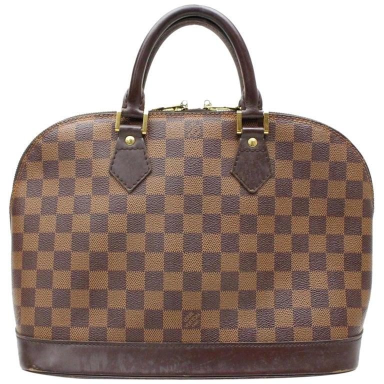23b60b5b9b41 Louis Vuitton Alma Damier Ebene 866815 Brown Coated Canvas Satchel For Sale