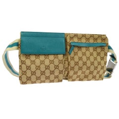 Gucci (Ultra Rare) Gg Bum Waist Pouch 866840 Beige Coated Canvas Cross Body Bag