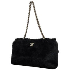 Chanel Cc Chain 221607 Tote Black Rabbit Fur Satchel