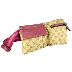 Gucci Monogram Gg Belt Waist Pouch 866876 Beige Canvas Cross Body Bag