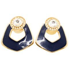 Bergdorf Goodman 80s Vintage Blue Enamel and Crystal Earrings for Pierced Ears