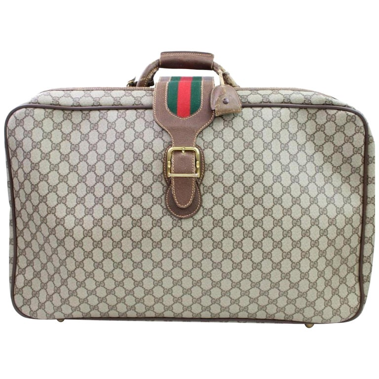 0070e9f0acd Gucci Sherry Web Supreme Suitcase 866636 Beige Coated Canvas Weekend Travel  Bag For Sale