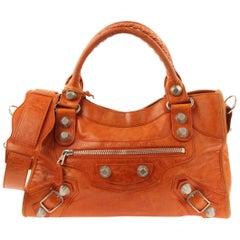 Balenciaga Giant The City 2 Way Orange Leather Satchel 23220976