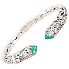 Chalcedony 18 K Sterling Silver Hinged Cuff Bracelet-Hallmarked