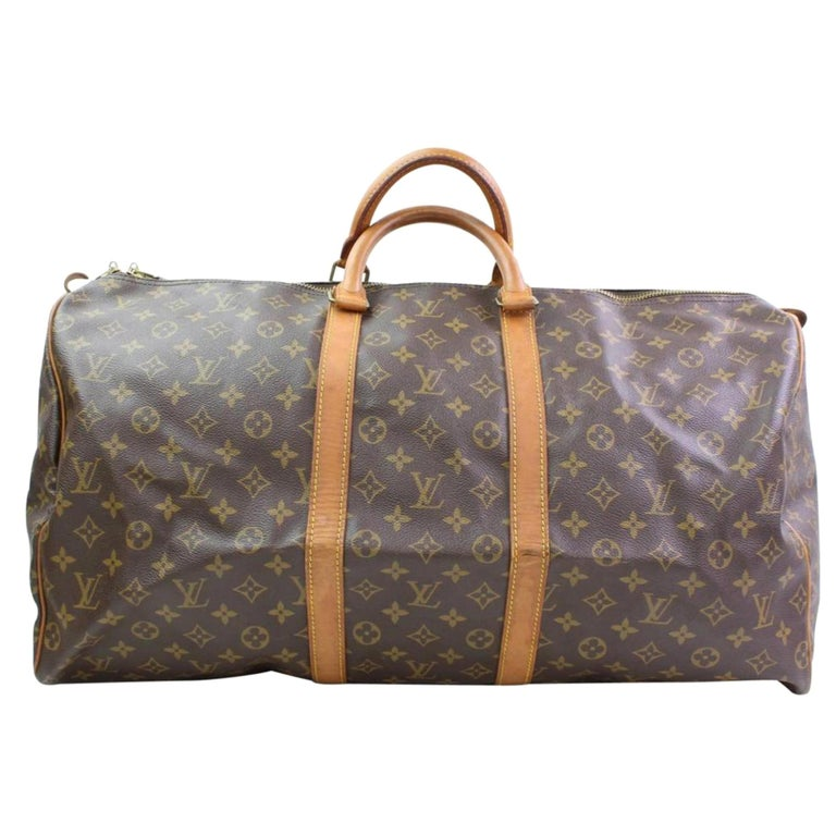 f4c6beaeceef Louis Vuitton Keepall Monogram 55 866413 Brown Coated Canvas Weekend Travel  Bag For Sale