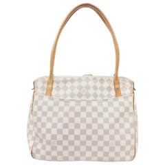 Louis Vuitton Figheri Damier Azur Pm 866456 White Coated Canvas Shoulder Bag