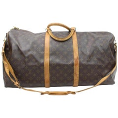 Louis Vuitton Keepall 60 866282 Brown Coated Canvas Weekend/Travel Bag