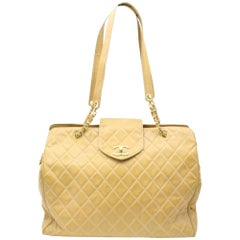 Chanel Supermodel Extra Large Beige 896035 Yellow Vinyl Shoulder Bag
