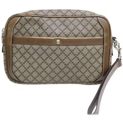 Gucci Diamante Monogram Toiletry Pouch 867160 Brown Canvas Clutch