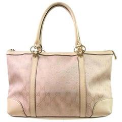 Gucci Monogram Gg Zip Tote 867028 Pink Coated Canvas Shoulder Bag