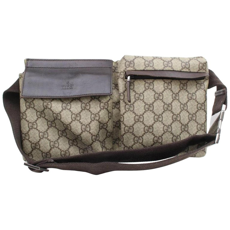 a90bb03a1f4 Gucci Supreme Bum Pouch Waist Pack 867073 Brown Coated Canvas Cross Body  Bag For Sale