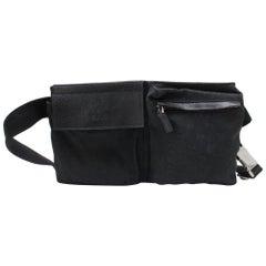 Gucci Monogram Waist Belt Pouch 866910 Black Coated Canvas Cross Body Bag