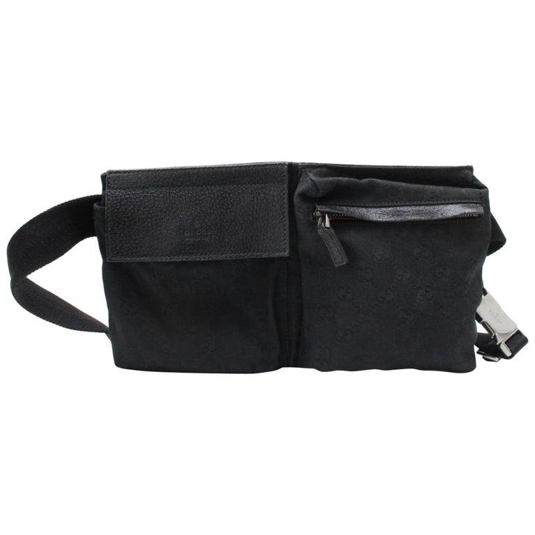 7eb6df2223a Gucci Monogram Waist Belt Pouch 866910 Black Coated Canvas Cross Body Bag  For Sale