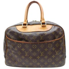 Louis Vuitton Deauville Monogram 866774 Brown Coated Canvas Satchel