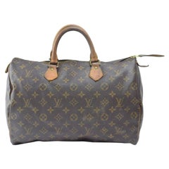 Louis Vuitton Speedy Monogram 35 866825 Brown Coated Canvas Satchel
