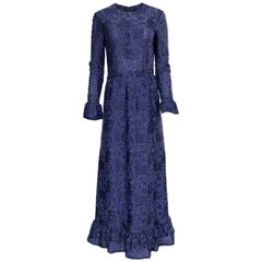 Striking c1971 Givenchy Blue Metallic Detailed Silk Net Ruffled Dress