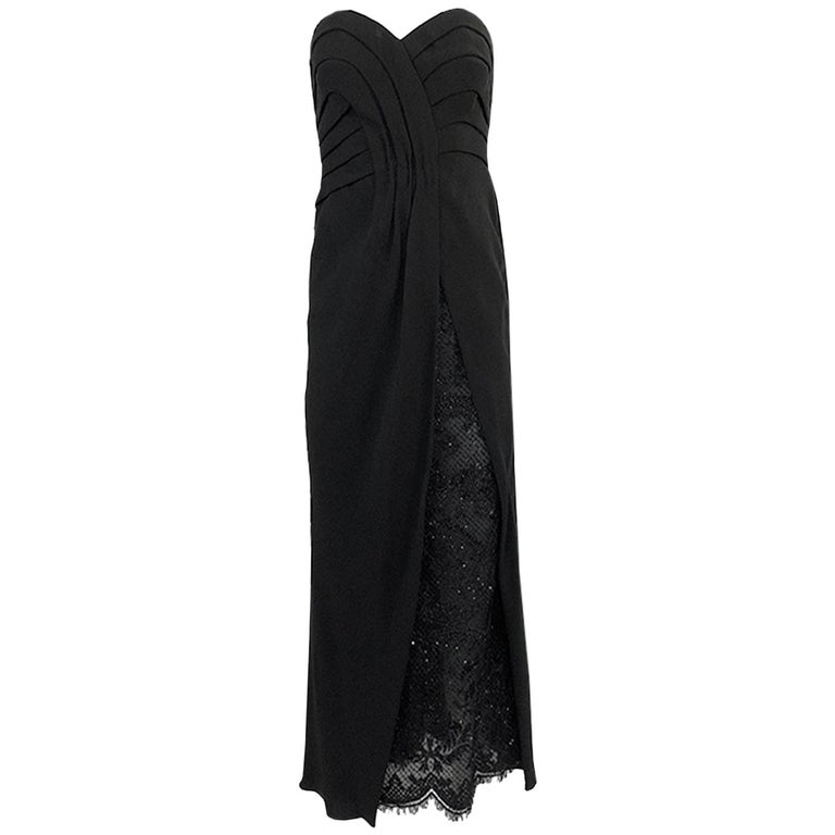 Spring 1998 Valentino Haute Couture Strapless Dress w Beaded & Sequin Inner Skir For Sale