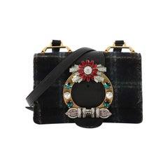 Miu Miu Madras Crystal Buckle Shoulder Bag Wool Small