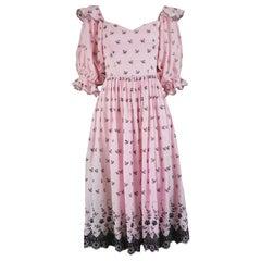 Emanuel Vintage Pink & Black Broderie Anglaise Cotton Peasant Dress, 1980s