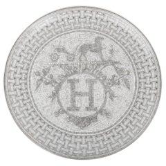 Hermes Mosaique Au 24 Platinum Tart Platter Porcelain
