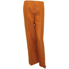 Hermes Orange Linen Wide Leg Pants