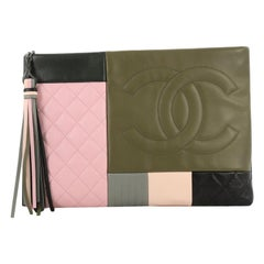 Chanel O Case Clutch Colorblock Leather Large