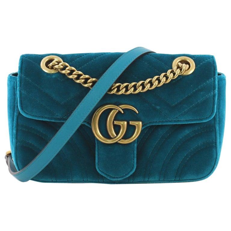d0cac0053b5 Gucci GG Marmont Flap Bag Matelasse Velvet Mini For Sale at 1stdibs
