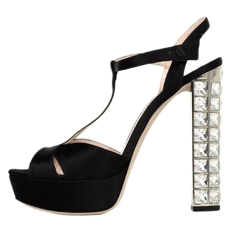 3f3ca504eb46 Miu Miu Black Satin Ankle Wrap Platform Sandals W/ Crystal Heel Sz 38 For  Sale