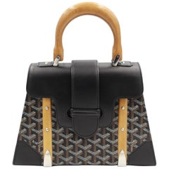 Goyard Saigon PM handbag in Black Canvas and Black Leather