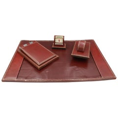Hermes by Paul Dupre Lafon Vintage Hermes Bureau Set in Burgundy Leather