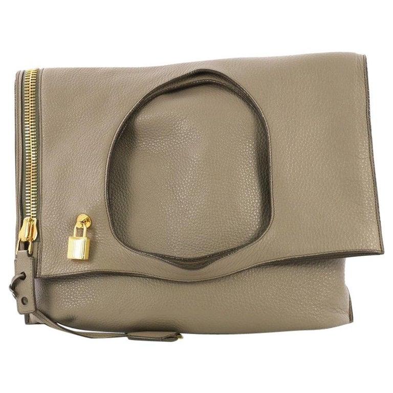 865e7e20916cf9 Tom Ford Alix Fold Over Bag Leather Large For Sale at 1stdibs