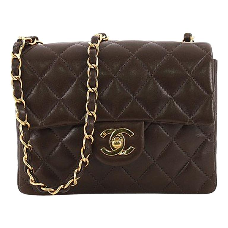 2cf69700182a Chanel Vintage Square Classic Single Flap Bag Quilted Lambskin Mini For Sale