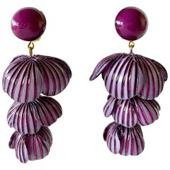 Purple Modernist Architectural Flower Statement Earrings