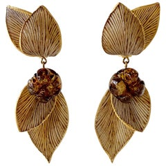 Architectural Taupe Leaf Statement Earrings