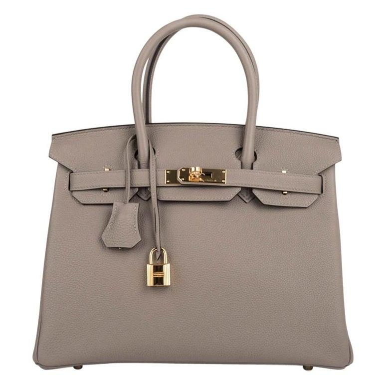 Hermes Birkin 30 Bag Gris Asphalte Togo Gold Hardware Perfect Neutral For Sale