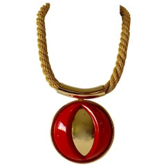 Vintage Red Lanvin Paris Modern Statement Necklace