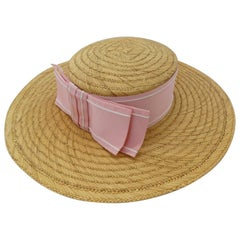 1960s Pink Bow Straw Boater Hat