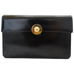 Celine Paris Black Leather Envelope Clutch
