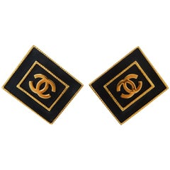 1980s Chanel CC Leather Rectangle Clip On Earrings