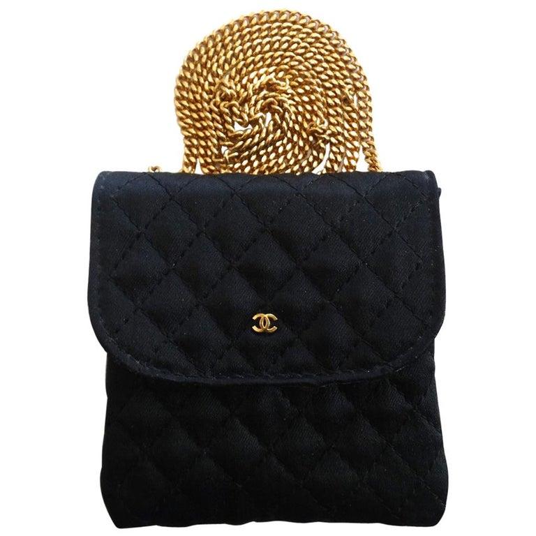 f2156b1c1484 Vintage Chanel Black Satin Mini Necklace Bag For Sale at 1stdibs