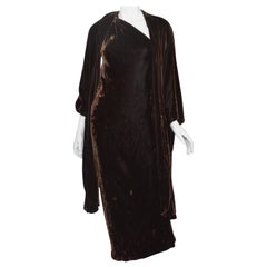 Vintage Halston Crushed Velvet Gown with Cape