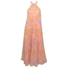 Vintage 1960's Floral Print Chiffon Halter Gown