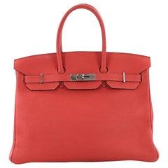 Hermes Birkin Handbag Rouge Pivoine Togo with Palladium Hardware 35