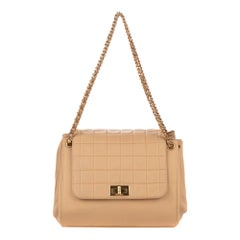 Chanel accordion Beige Lamb leather Shoulder Bag