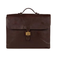 Hermes Brown Box Leather Briefcase