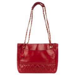 Chanel Red Lamb Leather Vintage Shoulder Bag